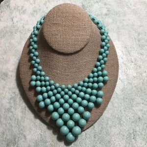 Blue Statement bead Bib Necklace